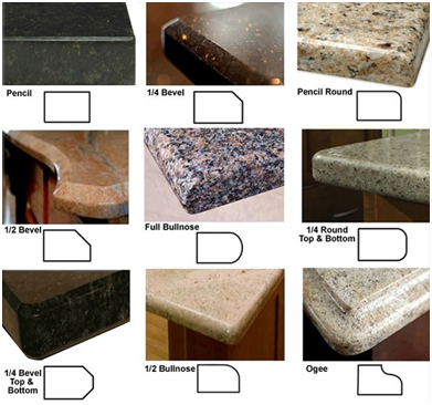 Granite Countertop Edge Details : Image Credit: http://www.primerainteriors.com/countertops/edges