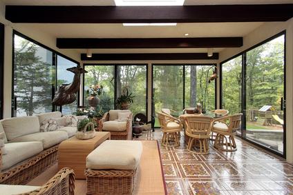 Wonderful Sunroom With Patterned Tile