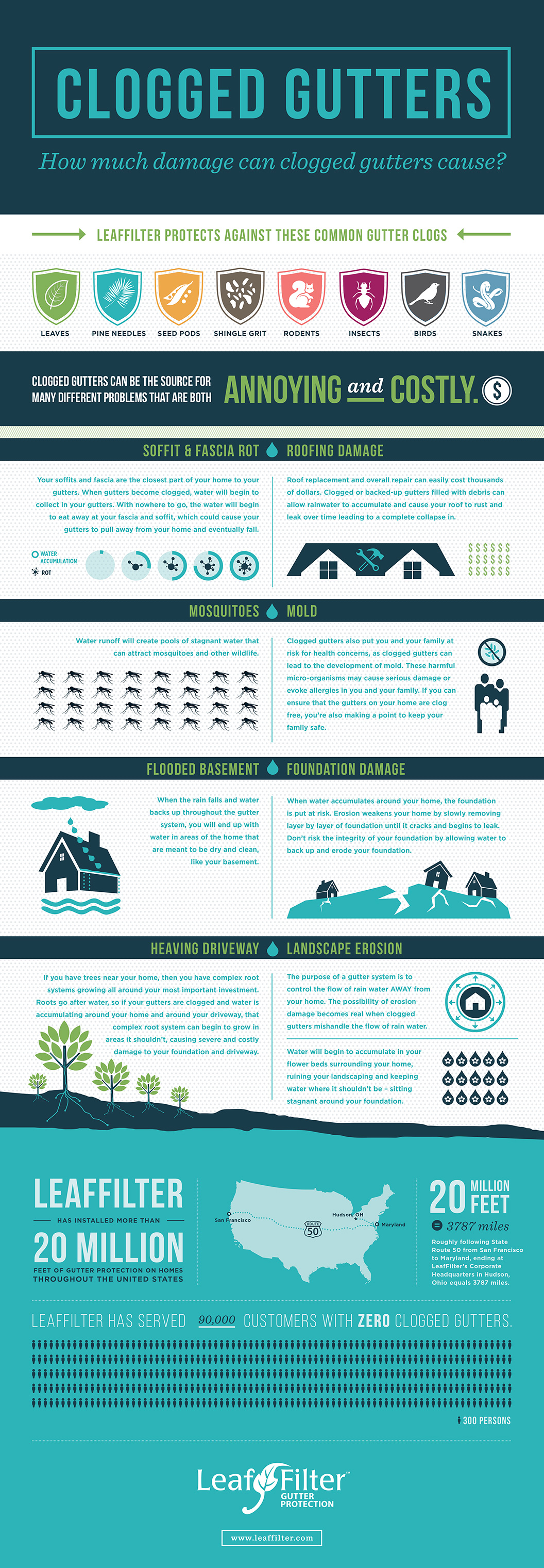 damage of clogged gutters- infographic